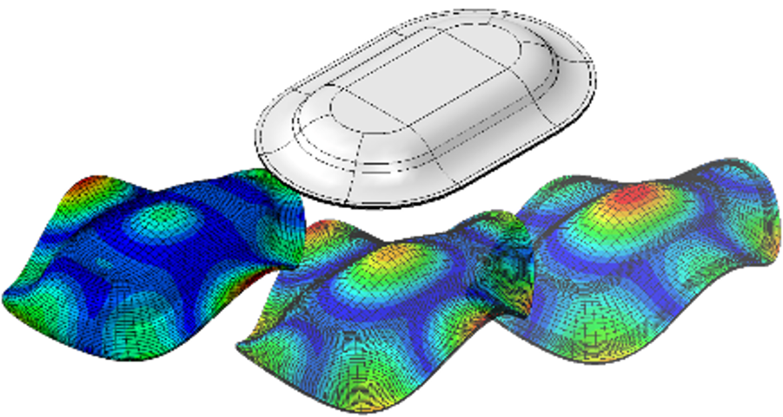 Modalanalyse eines generischen 3D-Bauteils mit unterschiedlichen Laminataufbauten.