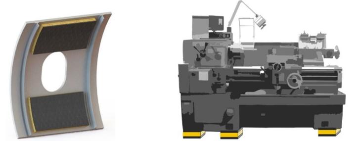 Potentielle Anwendungsfelder für CCLD: gekrümmte, flächige Strukturen, wie Verkleidungs- und Strukturbauteile, Lärmschutzwände verschiedener Art etc. (links) und kompakte Dämpfer in Maschinen, Antrieben etc. (rechts)